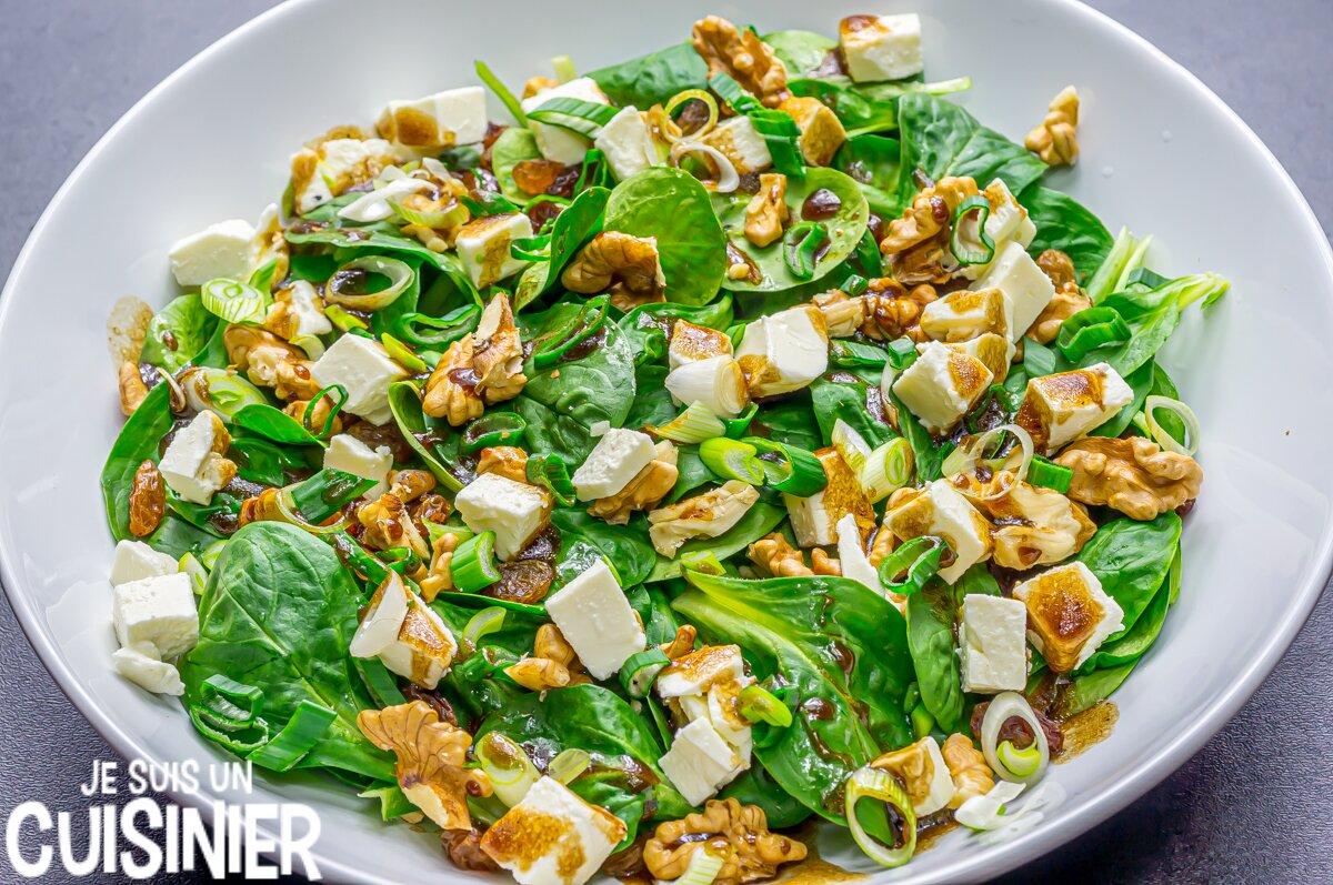 Vinaigrette pour salade de mâche aux noix et fromage frais
