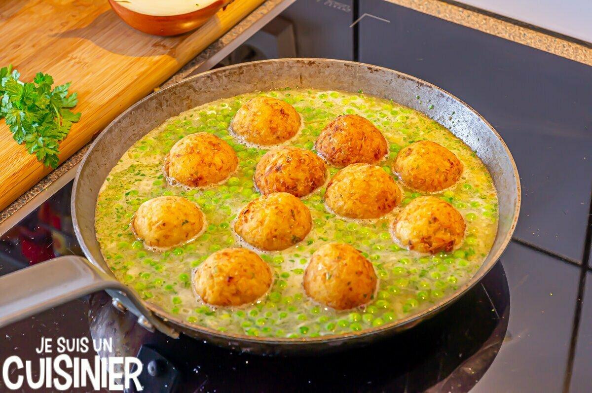 Boulettes de morue sauce verte (cuisson)