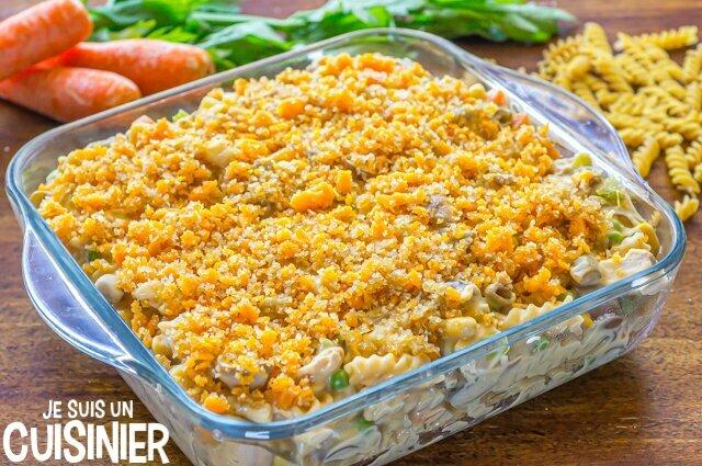 Gratin de pâtes au thon et légumes (fromage et chapelure)