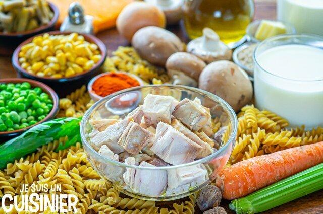 Gratin de pâtes au thon et légumes (ingrédients)