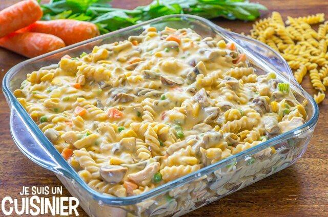 Gratin de pâtes au thon et légumes (plat à gratin)