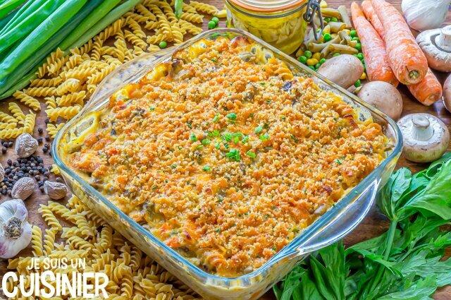 Gratin de pâtes au thon et légumes