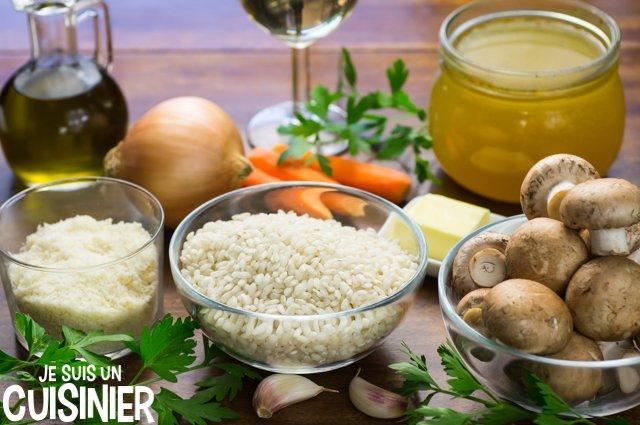 Ingrédients pour risotto aux champignons de Paris et parmesan