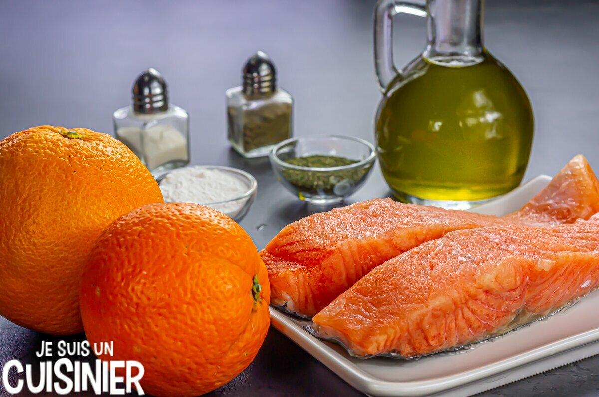 Ingrédients pour saumon à l'orange et à l'aneth