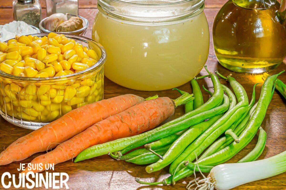 Ingrédients soupe chinoise au maïs et aux légumes