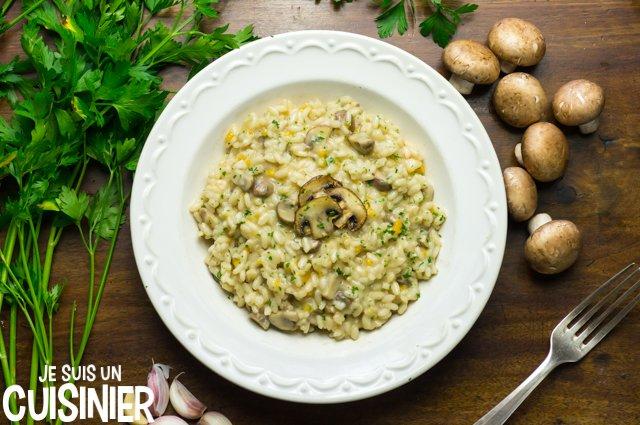 Receta de risotto aux champignons de Paris et parmesan