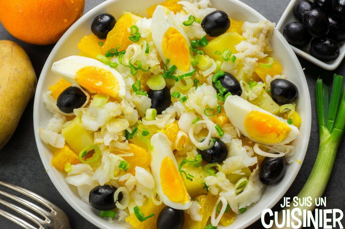Salade de pomme de terre, morue et orange