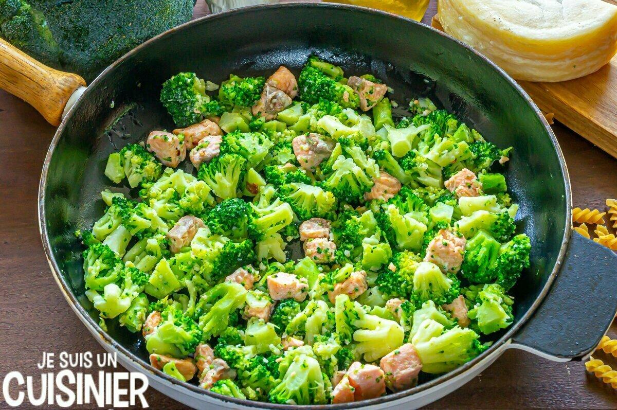 Sauce pour pâtes au saumon et brocoli