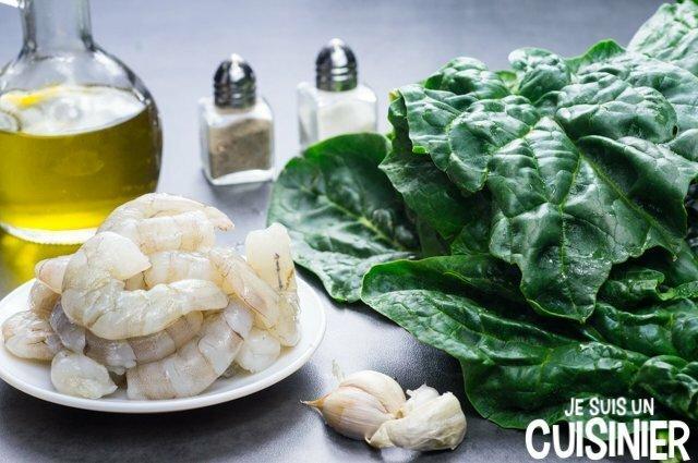 Épinards sautés aux crevettes (ingredientes)