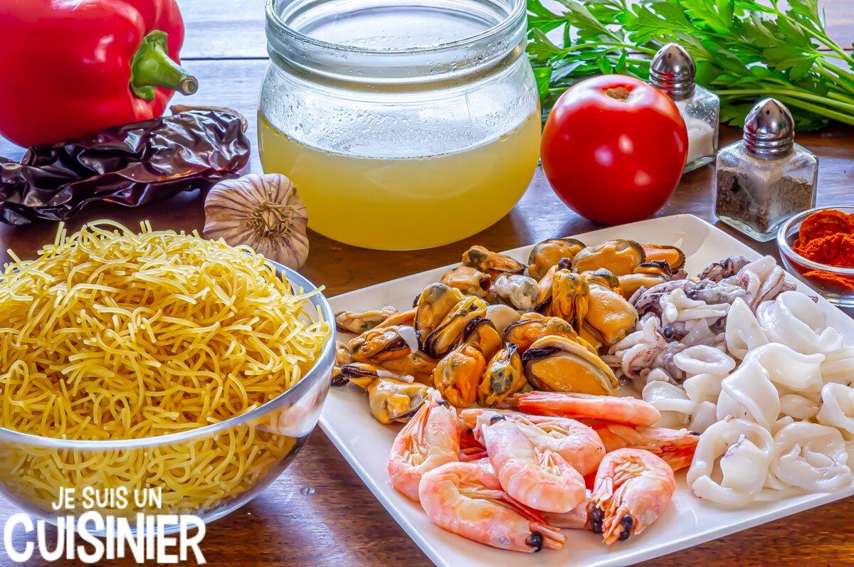 Fideuá aux fruits de mer (ingrédients)