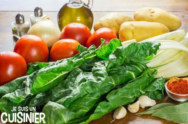 Ingrédients pour blettes à la tomate