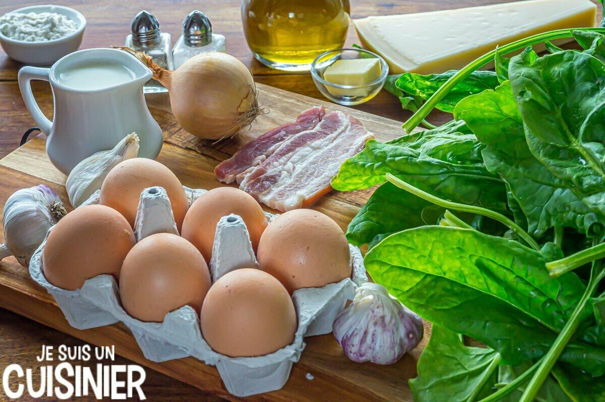 Ingrédients œufs à la florentine avec des épinards