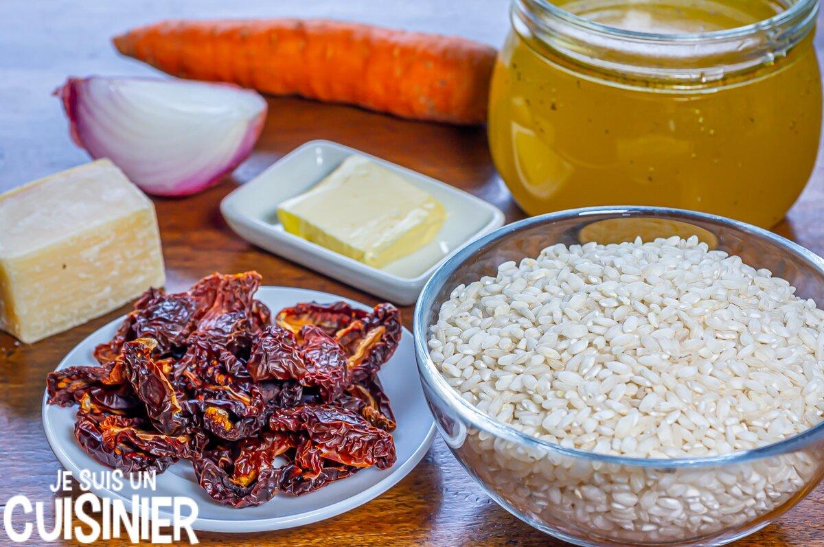 Ingrédients risotto aux tomates séchées