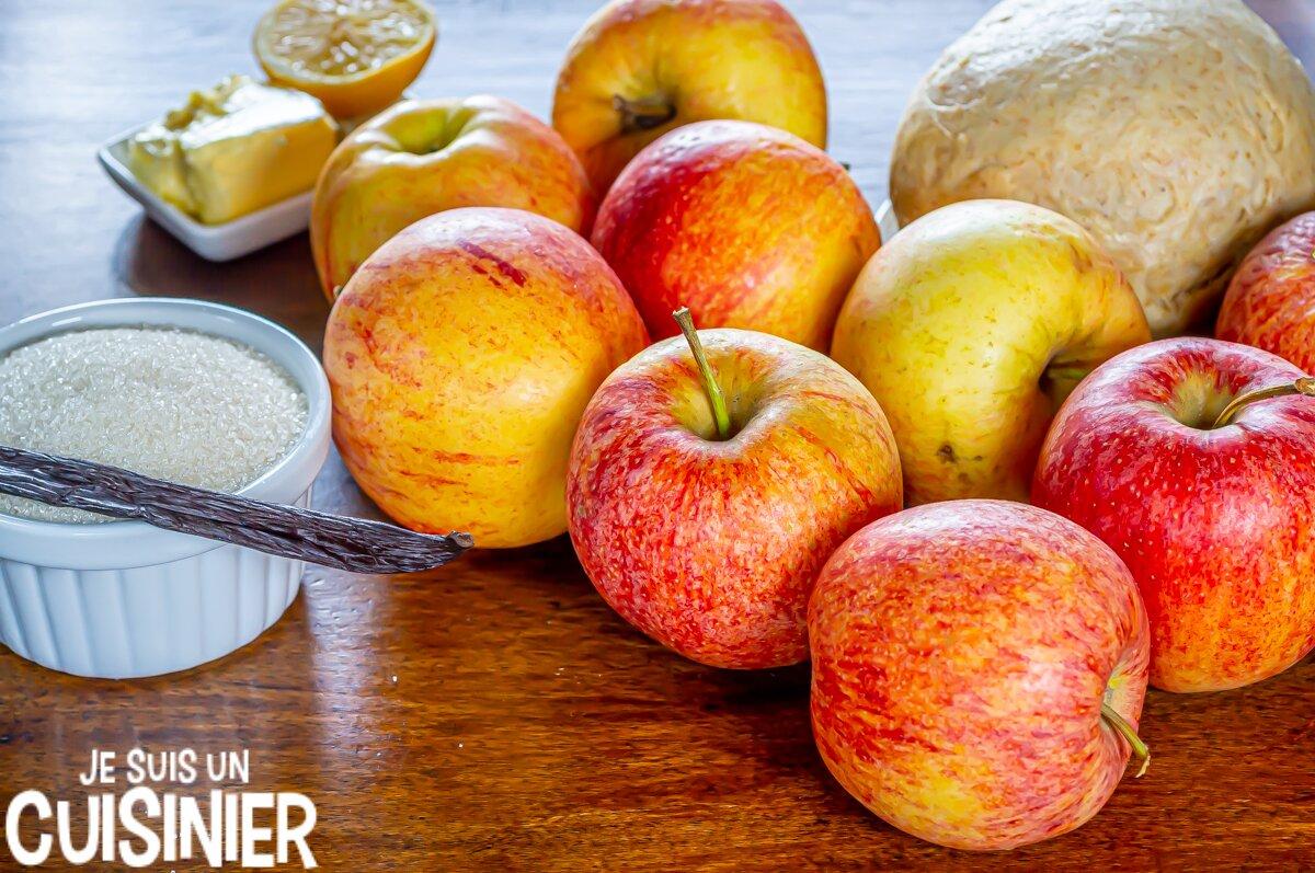 Ingrédients pour tarte aux pommes facile avec compote et pâte brisée