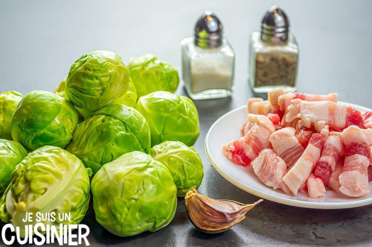 Choux de Bruxelles aux lardons (ingrédients)