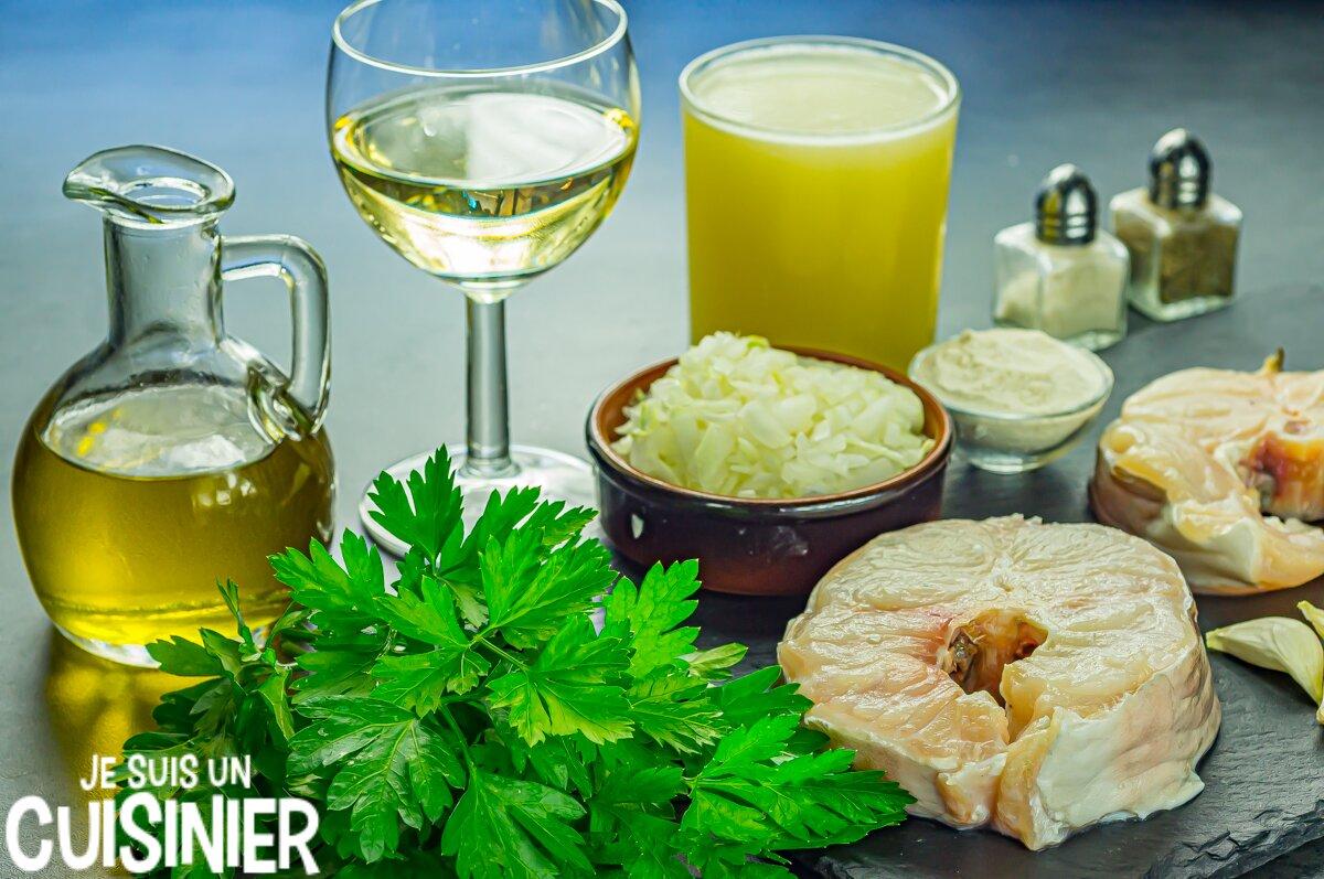Ingrédients congre en sauce verte ail et persil
