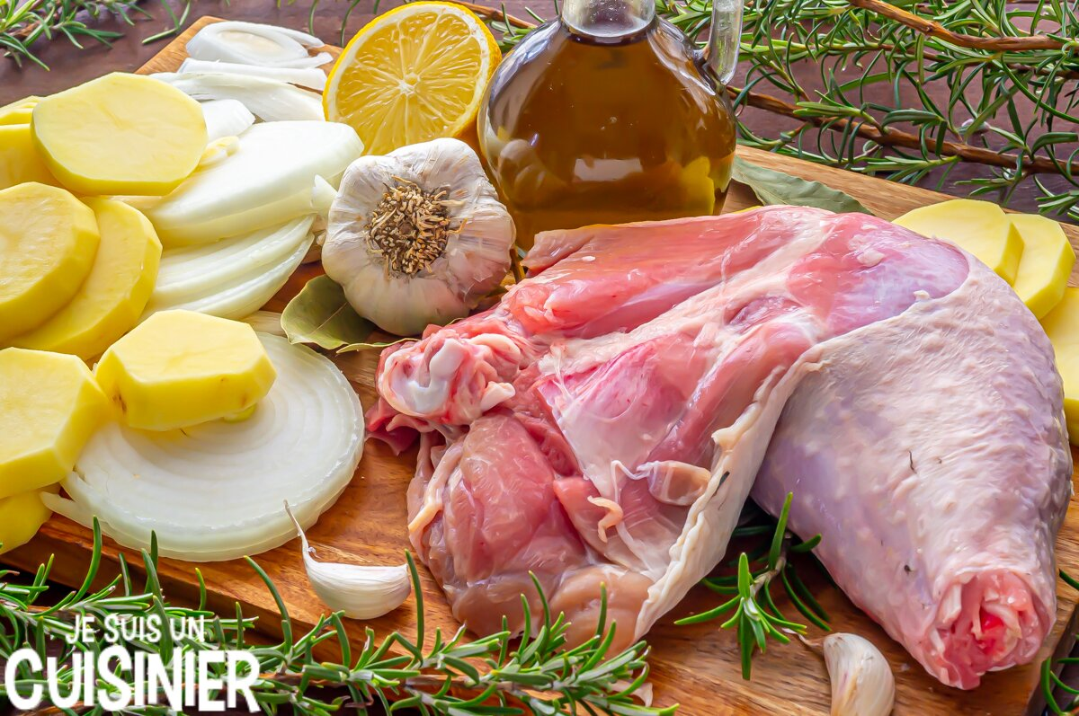 Ingrédients cuisse de dinde au four à l'ail et romarin