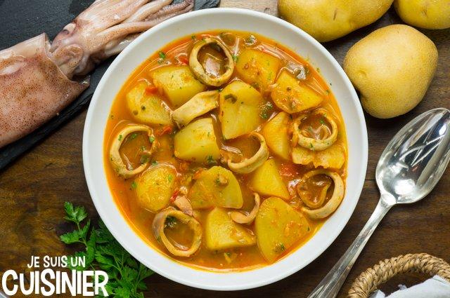 Recette de ragoût de pommes de terre aux calamars