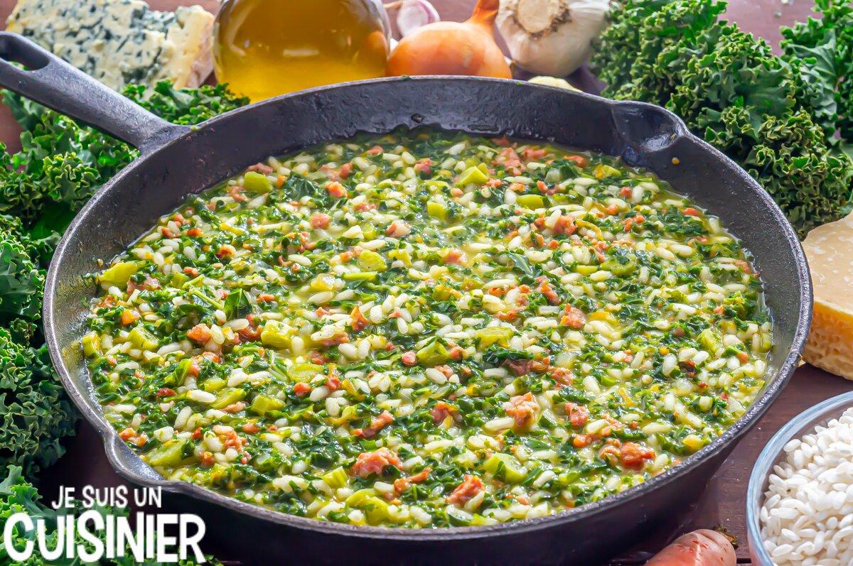 Comment faire risotto aux saucisses, chou kale et fromage bleu