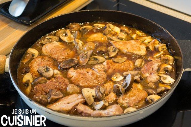 Cuisson filet mignon de porc au Porto et champignons