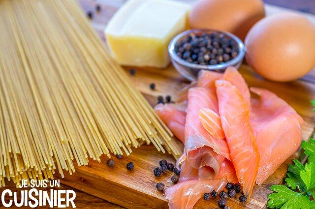 Ingrédients spaghettis carbonara au saumon
