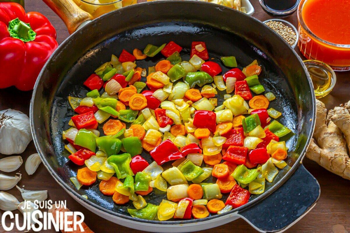 Légumes pour poulet sauce aigre-douce