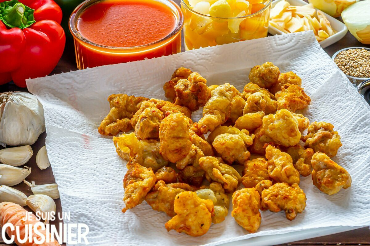 Poulet frit pour la sauce aigre-douce