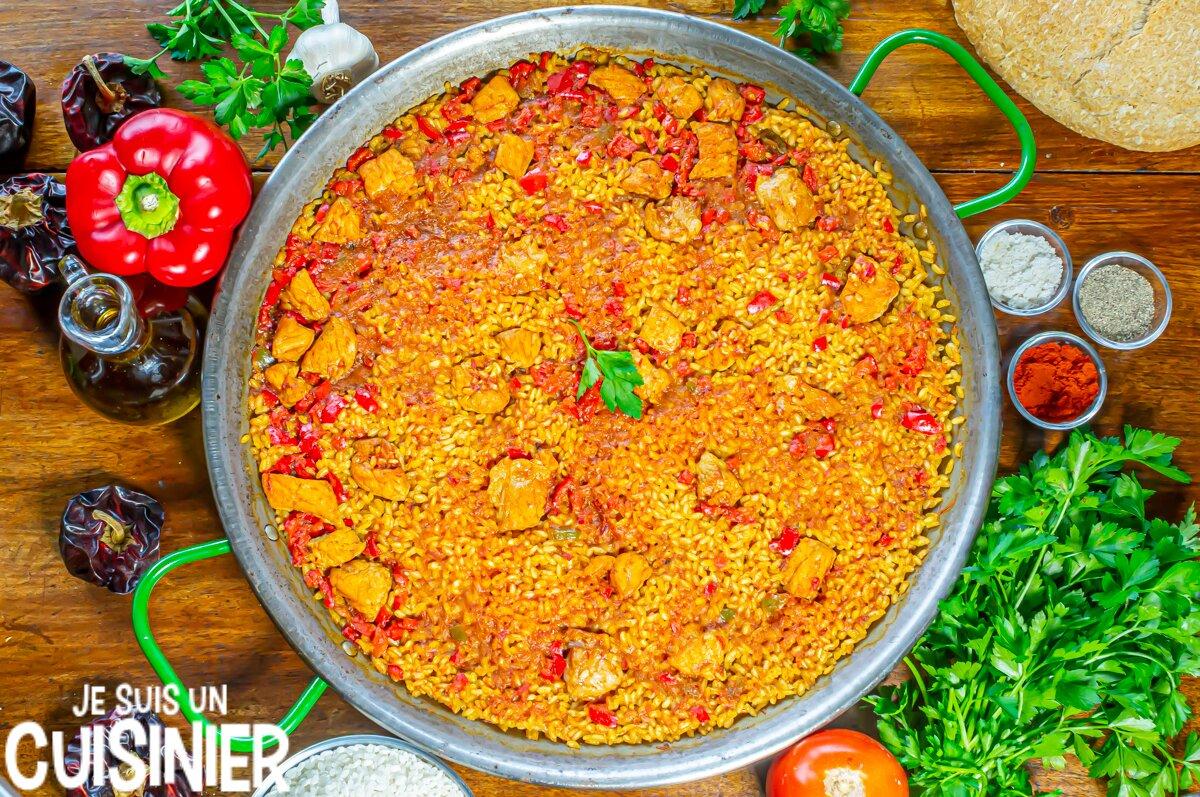 Recette de paella au porc (riz au porc à l'espagnole)