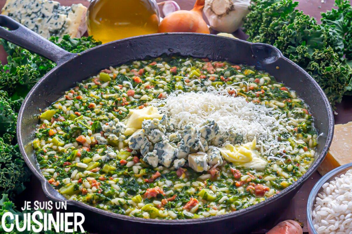Risotto aux saucisses, chou kale et fromage bleu (beurre et parmesan)