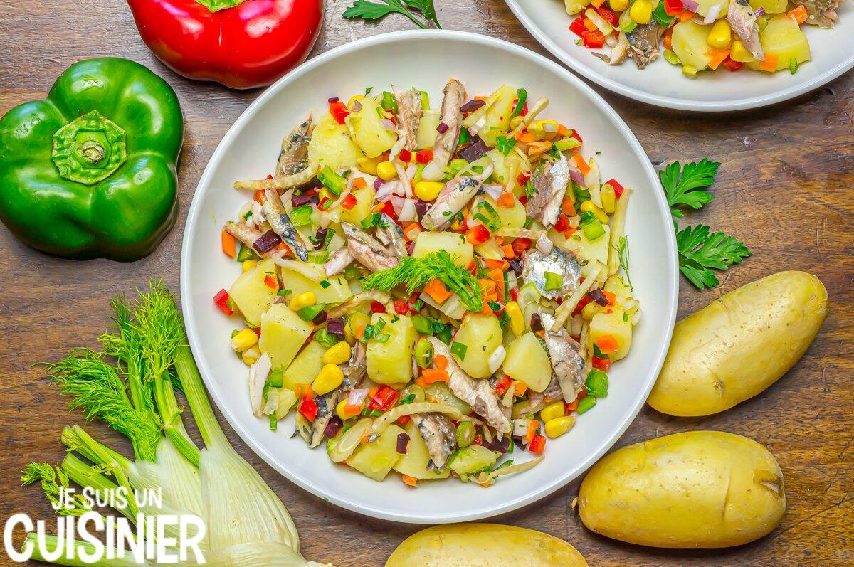 Salade de pommes de terre aux sardines et fenouil