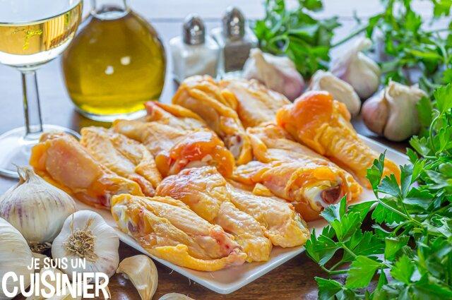 Ingrédients ailes de poulet à l'ail