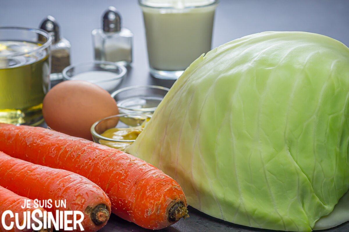 Inggrédients coleslaw (salade de chou blanc)