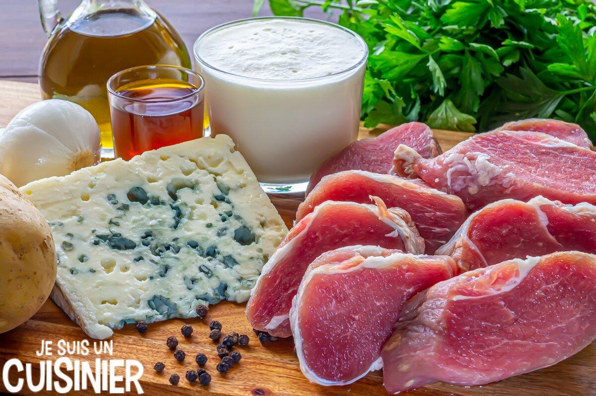 Ingrédients pour filet mignon de porc sauce roquefort