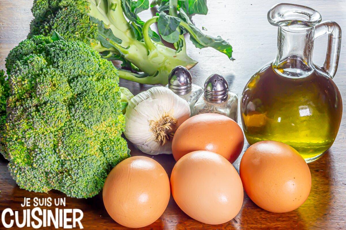 Ingrédients omelette au brocoli