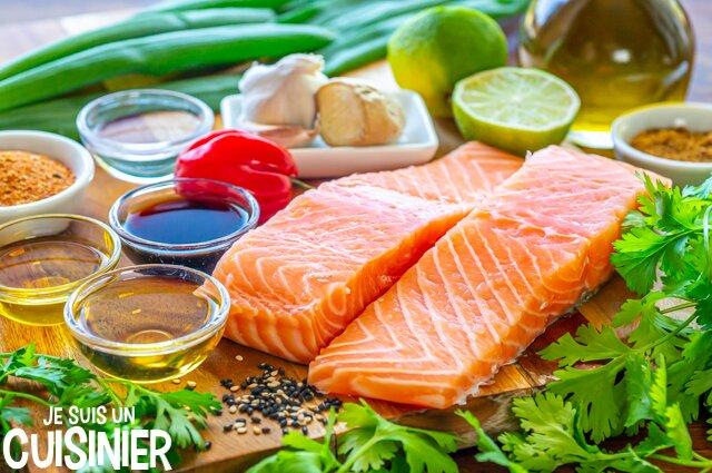 Ingrédients saumon mariné sauce soja