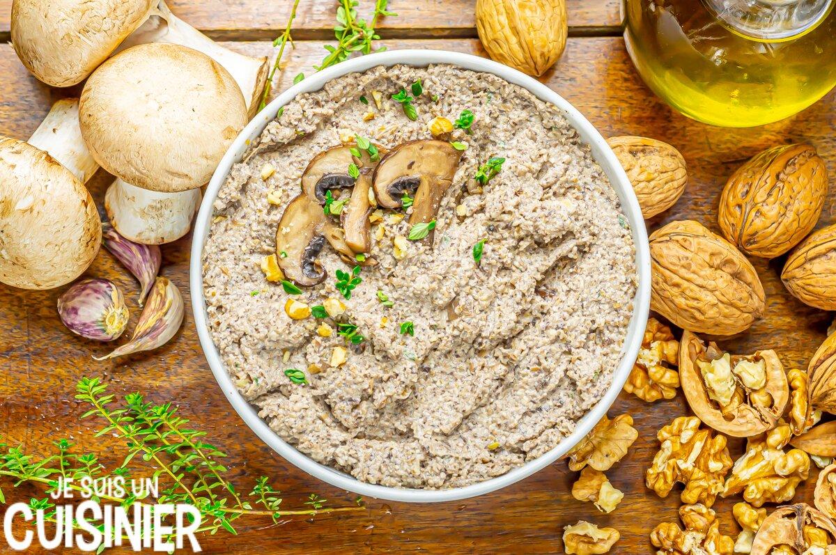 Recette de tartinade de champignons aux noix