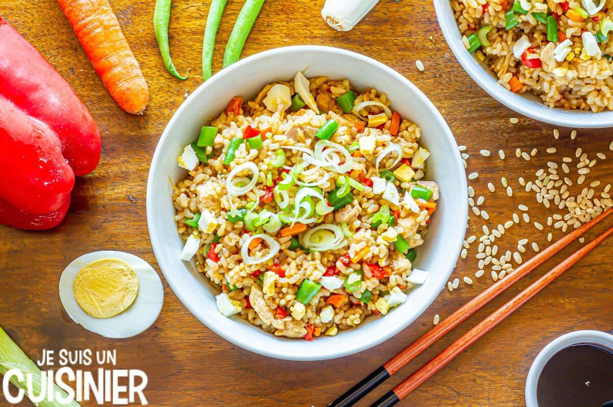 Riz cantonais au poulet et légumes