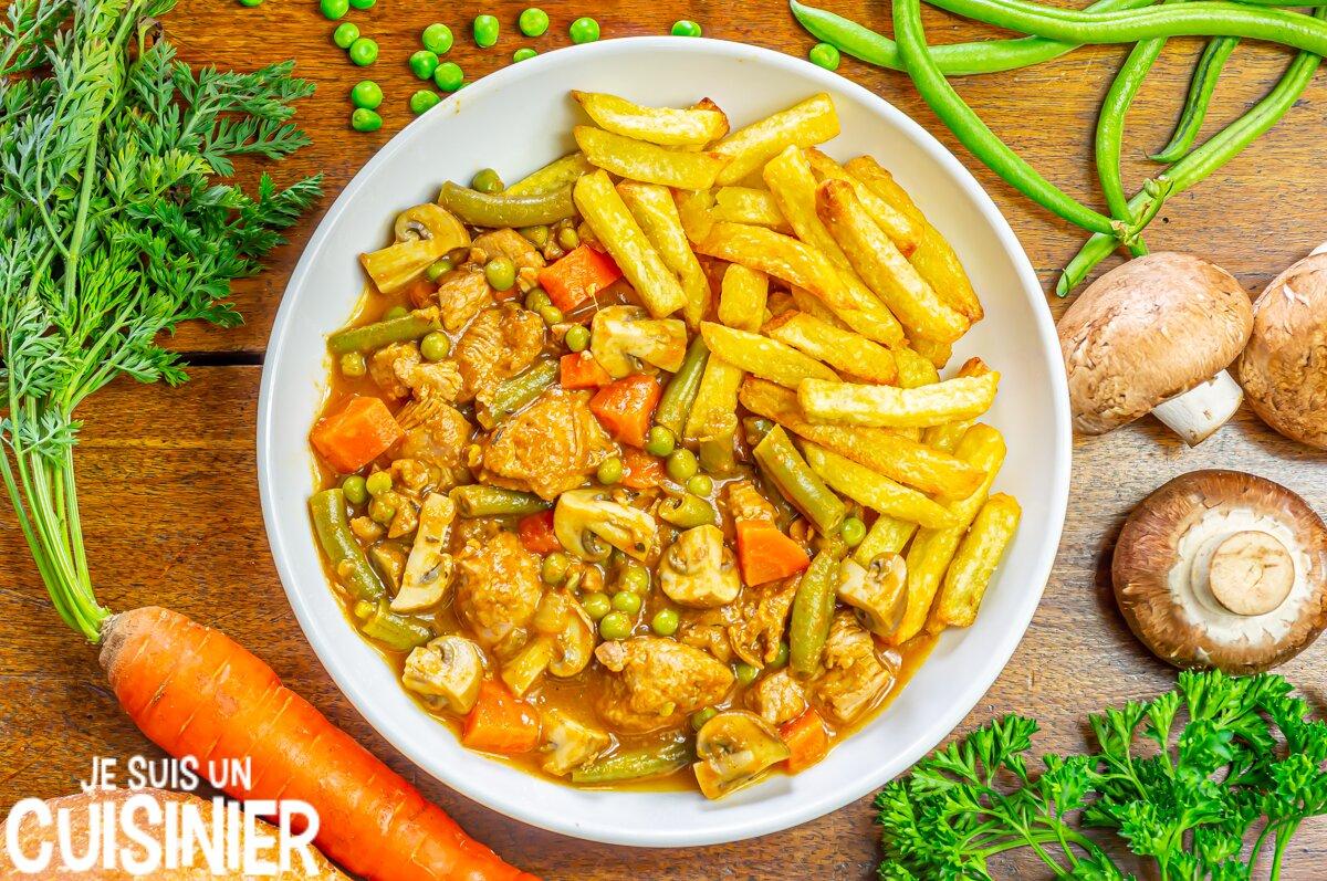 Sauté de dinde sauce aux légumes et champignons